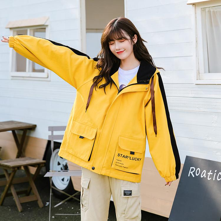 實拍學生外套女春秋韓版工裝寬松夾克外套