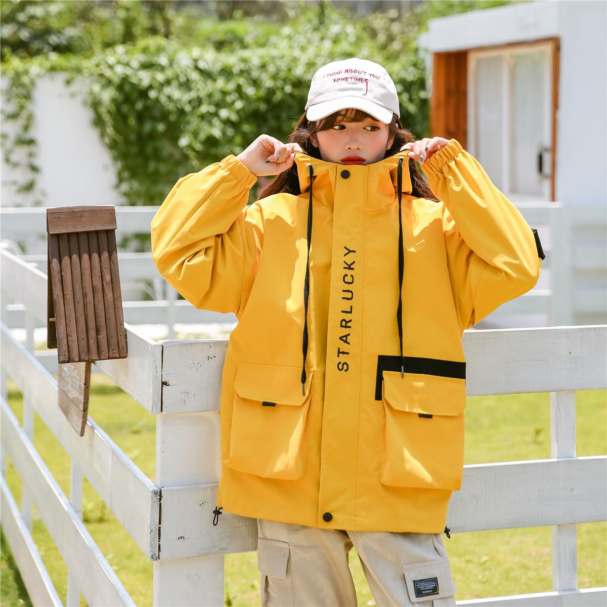 實拍春秋外套字母印花寬松連帽學生工裝沖鋒衣夾克