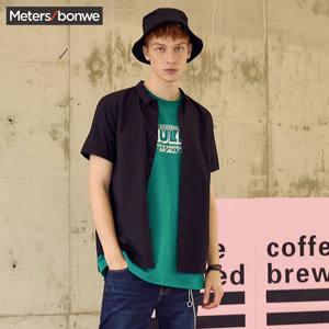 美特斯邦威短袖纯色男生休闲衬衫