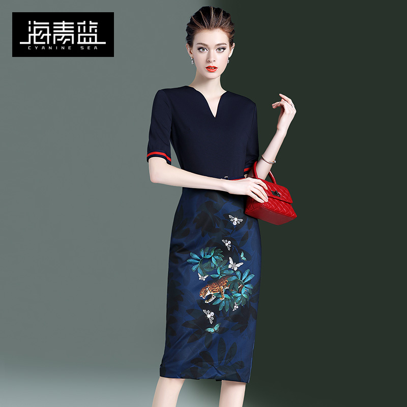 Navy Blue Vintage New Year's dress 2020 spring and autumn new slim show thin print temperament women's dress