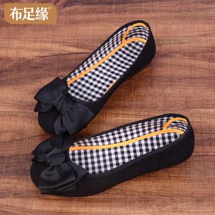 老北京布鞋女时尚软底平底工作鞋黑色2021新款豆豆鞋夏季女式单鞋