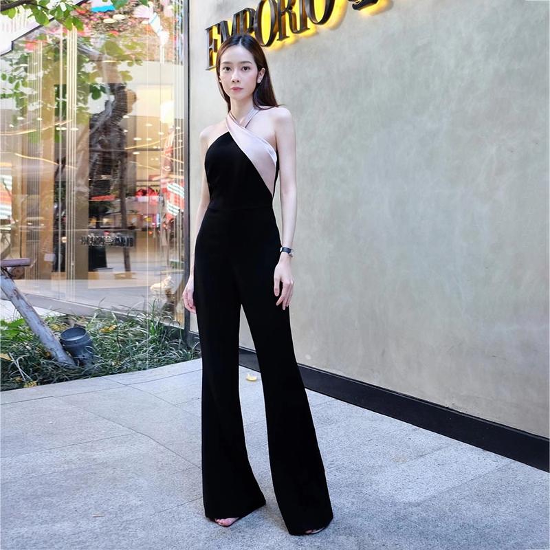 泰国潮牌女21春夏新款名媛气质挂脖拼色人鱼姬性感显瘦微喇连体裤