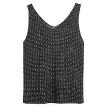伊自尚大码女装2021年新款夏季重工烫钻针织小背心宽松无袖上衣女
