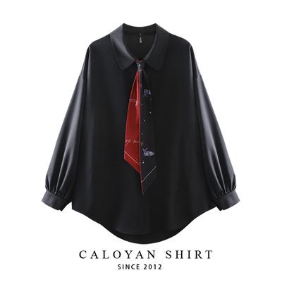 宽松韩范领带灯笼袖雪纺黑色衬衫女2020春新款学院风情侣个性上衣