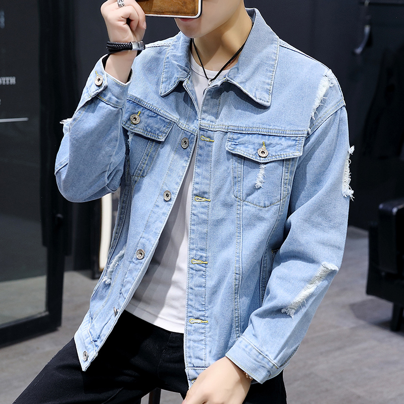 Mens wear 2019 spring and autumn thin fashion jacket Korean version slim mens casual student jeans jacket