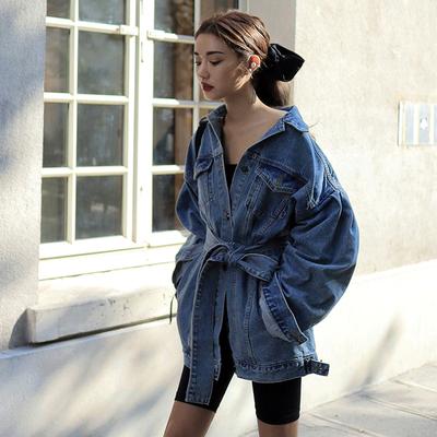 韩国定制设计感时髦复古中长款系带牛仔外套BF风宽松牛仔服女春秋