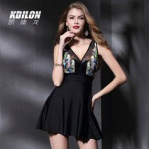 Cadillon swimsuit female sense conjoined hot spring swimsuit steel bracket gathering skirt conservative shade skinny swimsuit