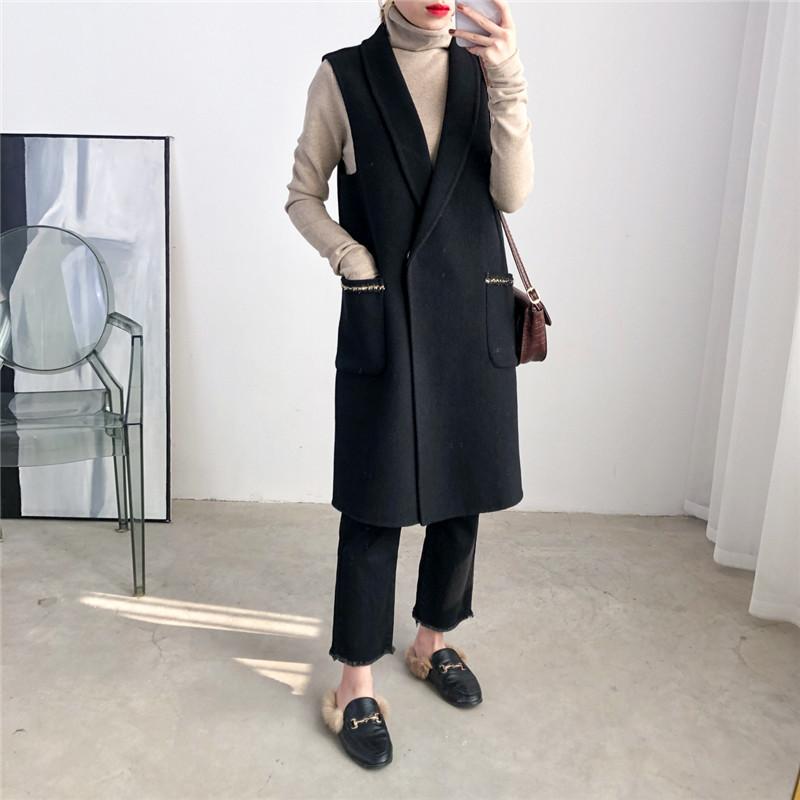 Black vest female autumn winter womens Vest double-sided cashmere wool small fragrance Vest Medium Long Coat wool