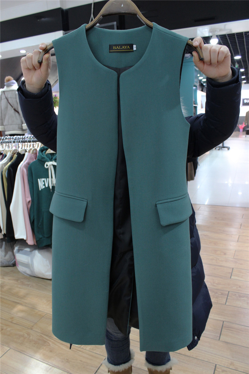 Mid length collarless vest womens 2020 spring and autumn new slim buttonless jacket Korean Vest White sleeveless coat