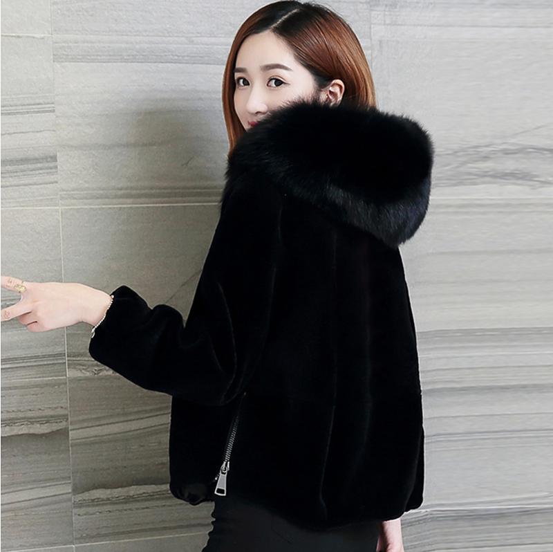 特價處理海寧仿羊剪絨連帽大衣短款韓版新款仿狐貍毛領皮草外套女