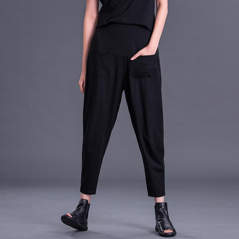 12月02日最新优惠黑色2019新款宽松夏季九分潮哈伦裤