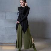 现代舞上衣古典舞服形体服瑜伽服长袖不规则中长款基训舞蹈练功服