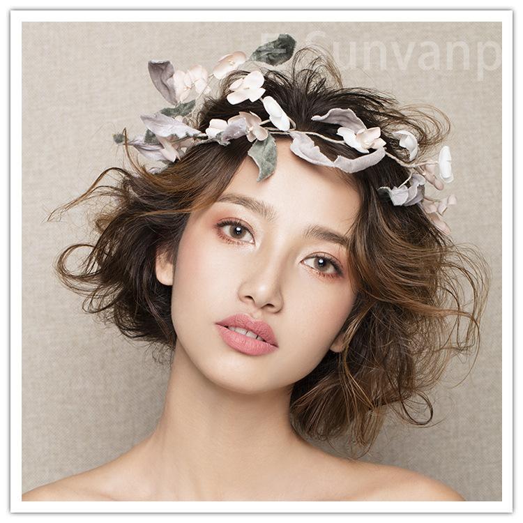 Korean high end retro seaside beach holiday photo runway show bridal headdress head wreath wedding accessories