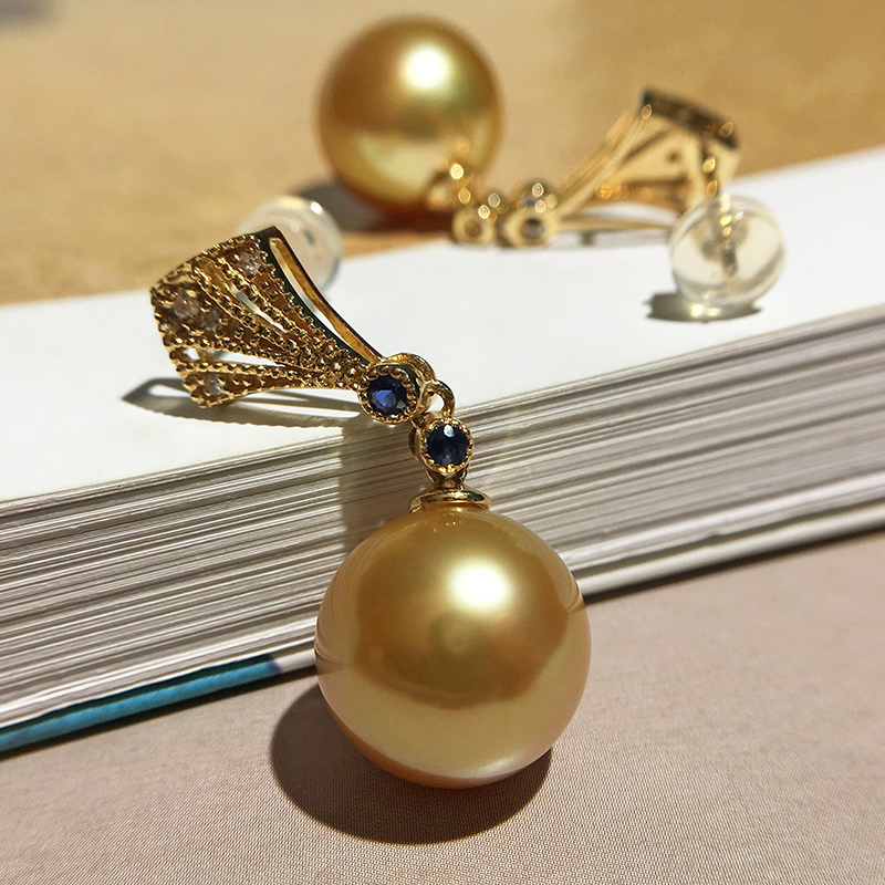 Imported Nanyang deep gold natural seawater pearl earrings 18K GOLD SAPPHIRE DIAMOND Round strong light temperament