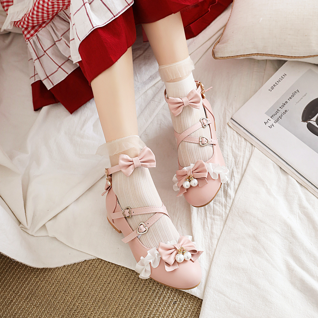 Lolita low heel shoes womens original Lolita shoes Japanese girls sweet bow thick heel students shoes