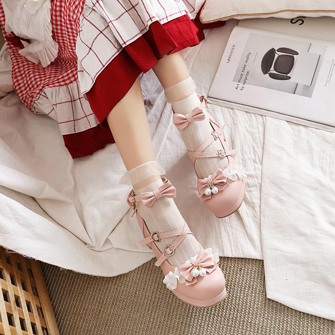 Lolita high heel single shoes original Lolita shoes Japanese girl Princess bow thick heel student shoes