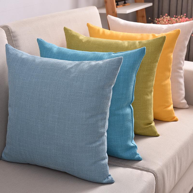 纯色亚麻沙发抱枕客厅靠枕床头靠垫椅子简约靠背垫汽车腰枕抱枕套
