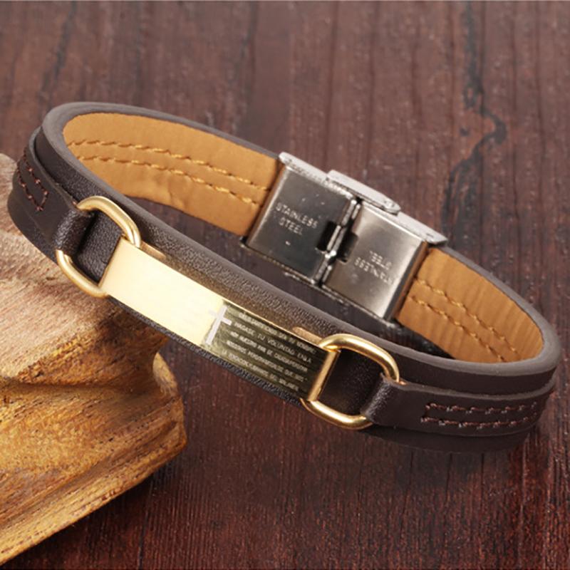 European and American Jesus Christ cross man Leather Bracelet Christian titanium bracelet Holy Scripture Bracelet birthday gift