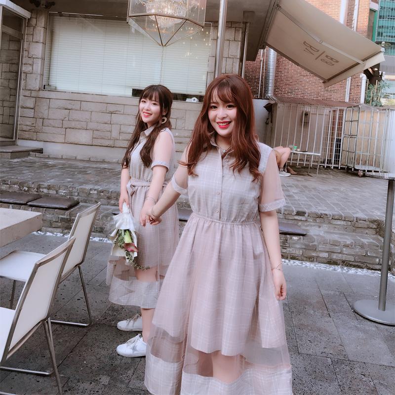 微胖mm夏�b2018新款大�a女�b收腰仙裙200斤�L裙 腰粗遮肚子�B衣裙
