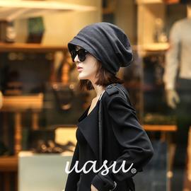 韩版潮秋冬季羊毛线贝雷帽时尚堆堆月子针织帽子女包头帽百搭冷帽