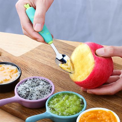 婴儿刮苹果泥勺子宝宝辅食工具不锈钢儿童餐具吃水果泥刮勺神器