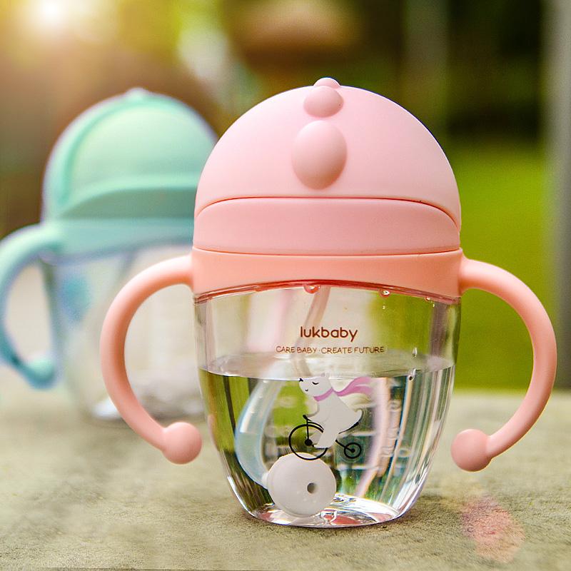 宝宝学饮杯婴儿防漏防呛吸管水杯夏季带手柄儿童喝水杯子家用防摔
