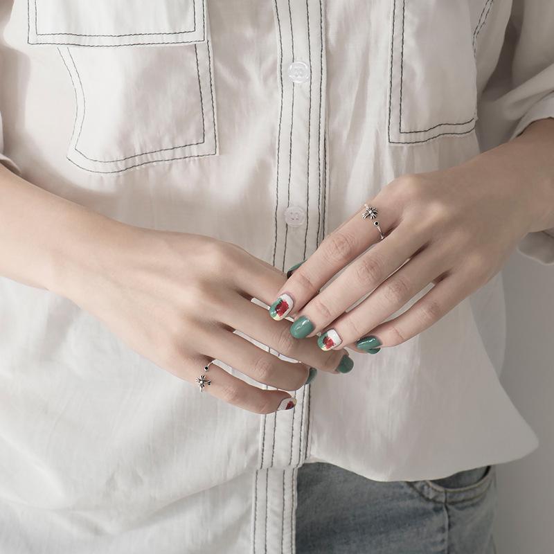 韩国韩版S925纯银戒指女哥特式复古个性开口指环克罗星十字架饰品