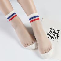 夏季薄款日系透明玻璃丝袜两杠条纹袜子女中筒袜ins潮流休闲运动
