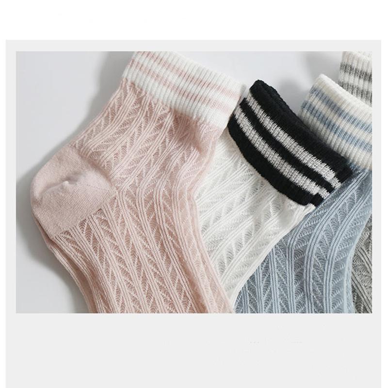 11月02日最新优惠韩版条纹镂空透气春秋季原宿中筒袜