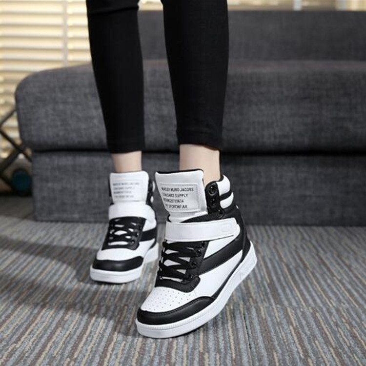 Spring and autumn Korean version invisible increase 6cm leisure sports shoes mens and womens shoes high top white board shoes tourist shoe trend