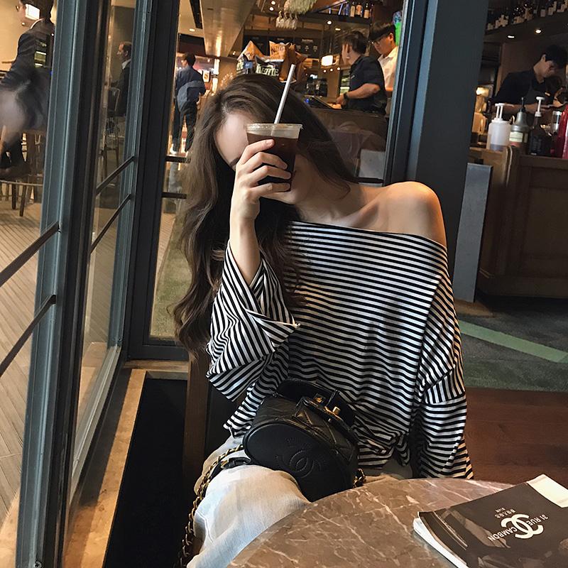 李雨薇露肩2019新款秋季韩版t恤热销111件不包邮