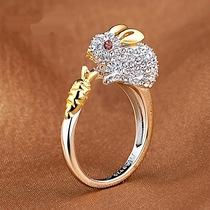 12生肖戒指女食指开口日韩版潮饰品百搭小动物镀铂金动物鸡指环