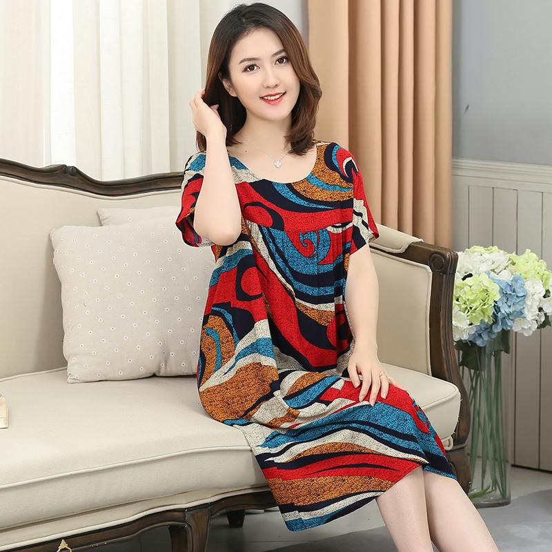 夏短袖人造棉宽松大码睡裙妇连衣裙11月01日最新优惠
