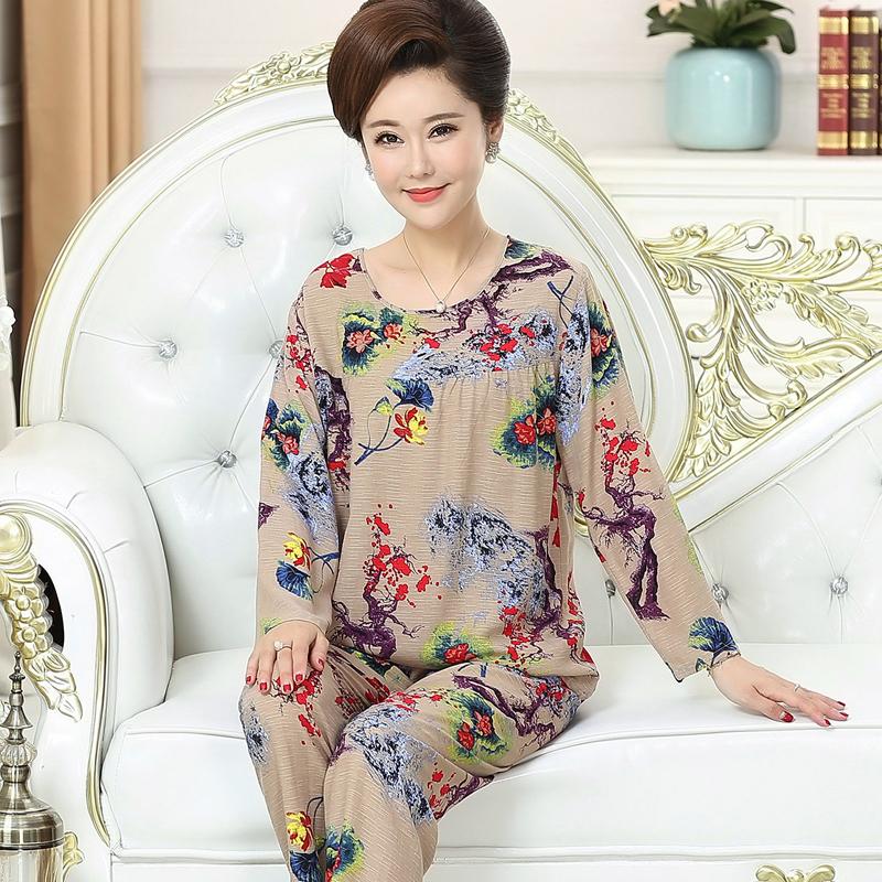 春秋韩版睡衣女夏纯棉绸长袖中老年女装绵绸可外穿妈妈家居服套装