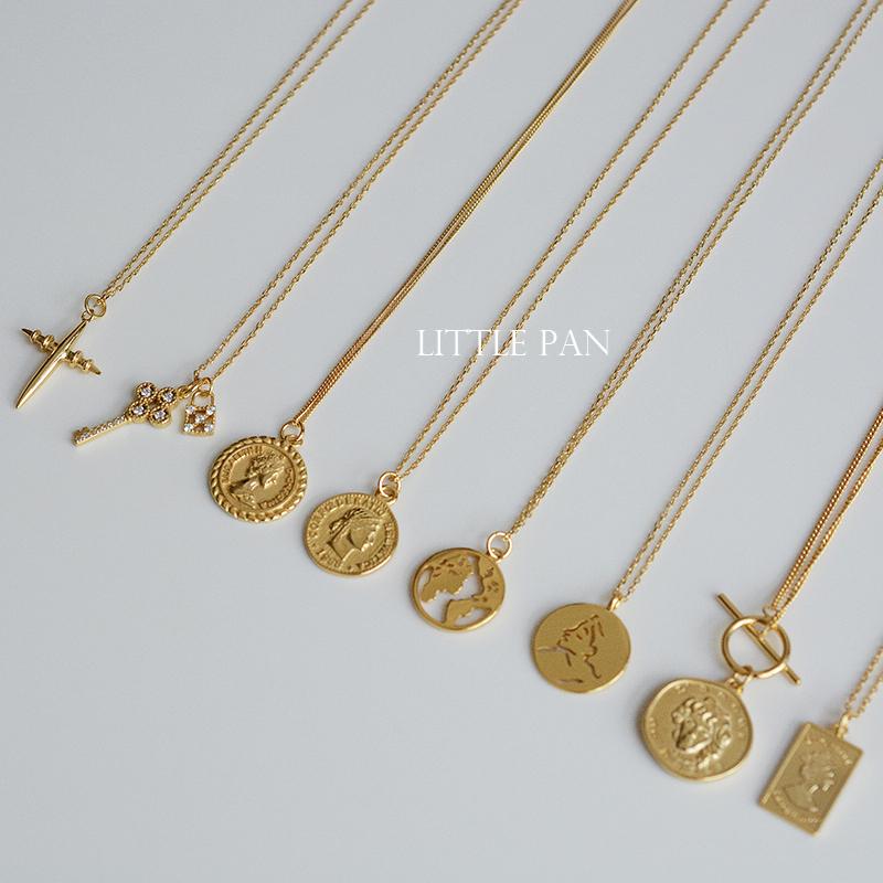 [小潘饰品馆 little pan项链]925纯银金色欧美中世纪复古钥匙硬币月销量182件仅售39元