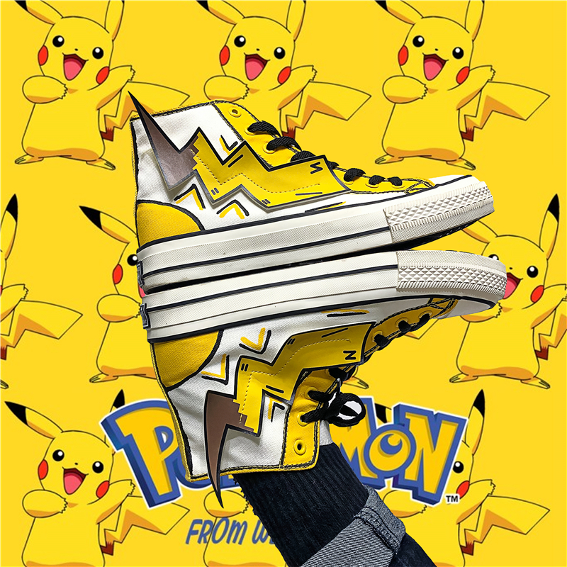 Canvas shoes male Pikachu Physical printing personalized cartoon cartoon couple women high top shoes ins autumn aj1 shoes