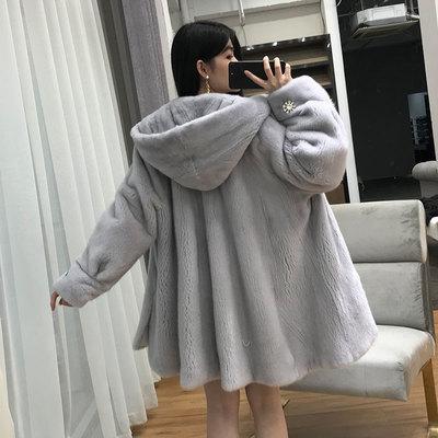 貂皮大衣女年轻款进口水貂毛母貂整貂天鹅绒中长显瘦海宁皮草外套