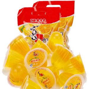 喜之郎蜜桔果肉果冻990gX2袋装糖果果冻布丁大包装零食