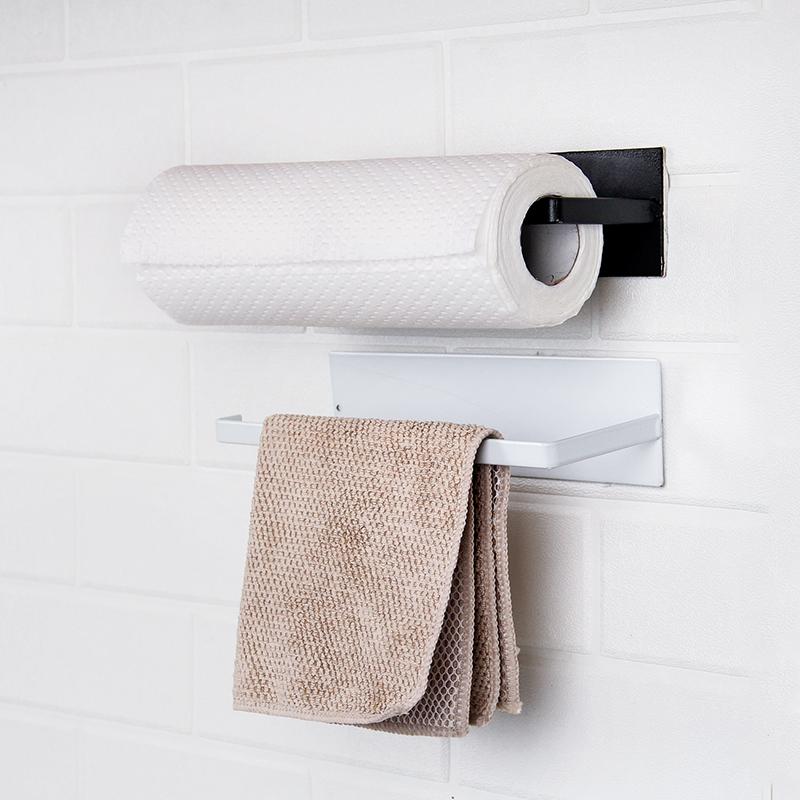 免打孔碳鋼紙巾架廚房用紙掛架保鮮膜抹布收納架粘貼式卷紙置物架