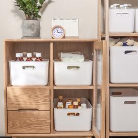 日本桌面零食化妆品收纳箱厨房杂物储物盒家用塑料带盖衣服整理箱
