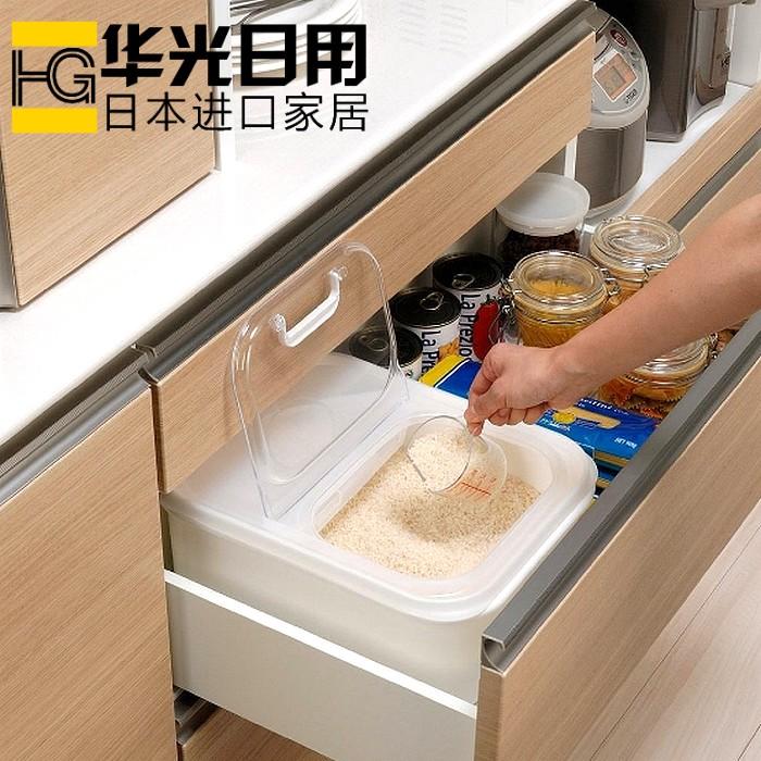 日本进口密封米桶储米箱杂粮桶面粉筒翻盖防潮防虫米箱米缸5公斤假一赔三