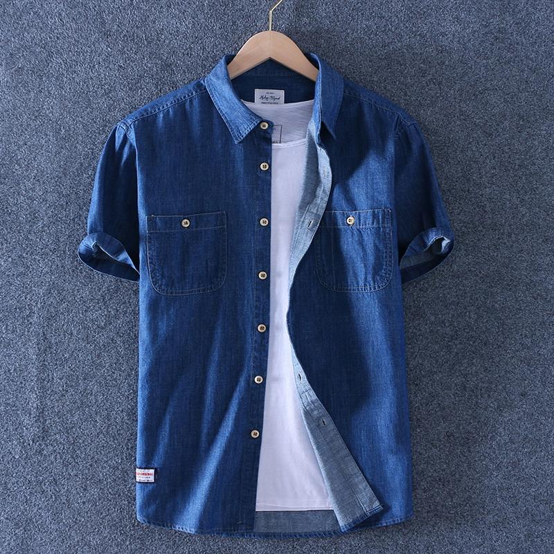 Sabaqi 2020 summer mens Cotton Denim Short Sleeve Shirt half sleeve inch shirt solid slim casual thin shirt