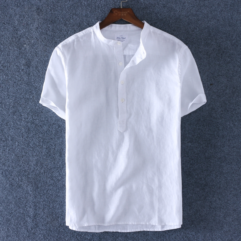 Summer pure linen pullover shirt mens short sleeve standing collar cotton linen round neck white shirt mens half sleeve inch fashion