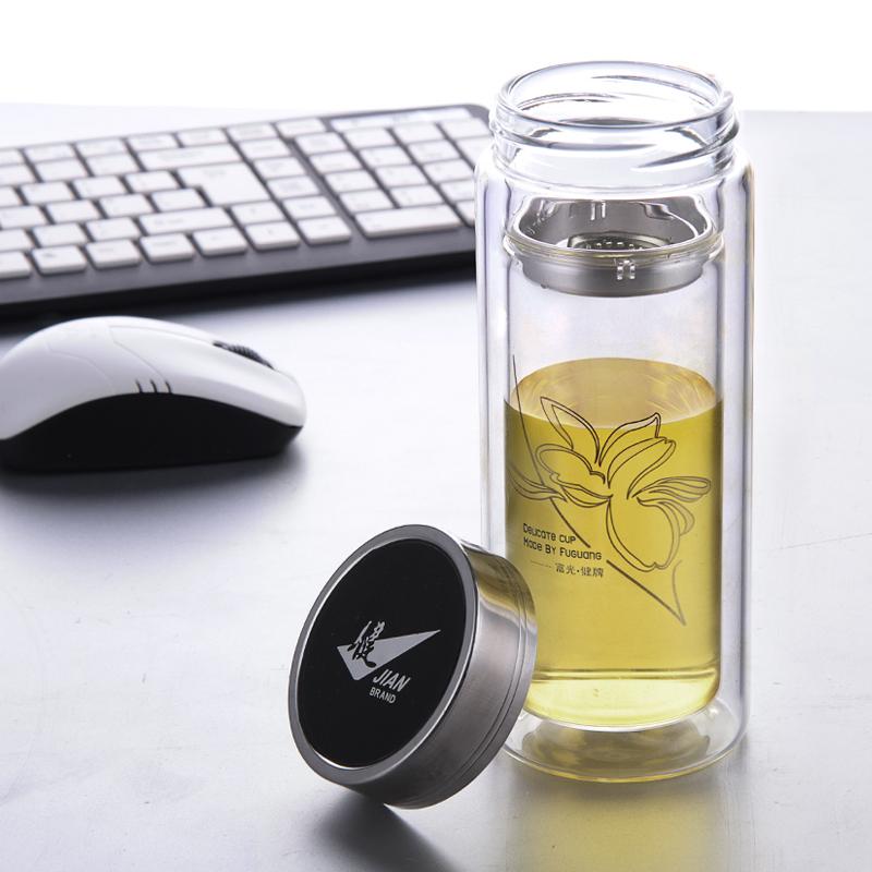 富光玻璃杯 雙層透明帶蓋過濾網防漏茶杯子 男女士便攜玻璃水杯