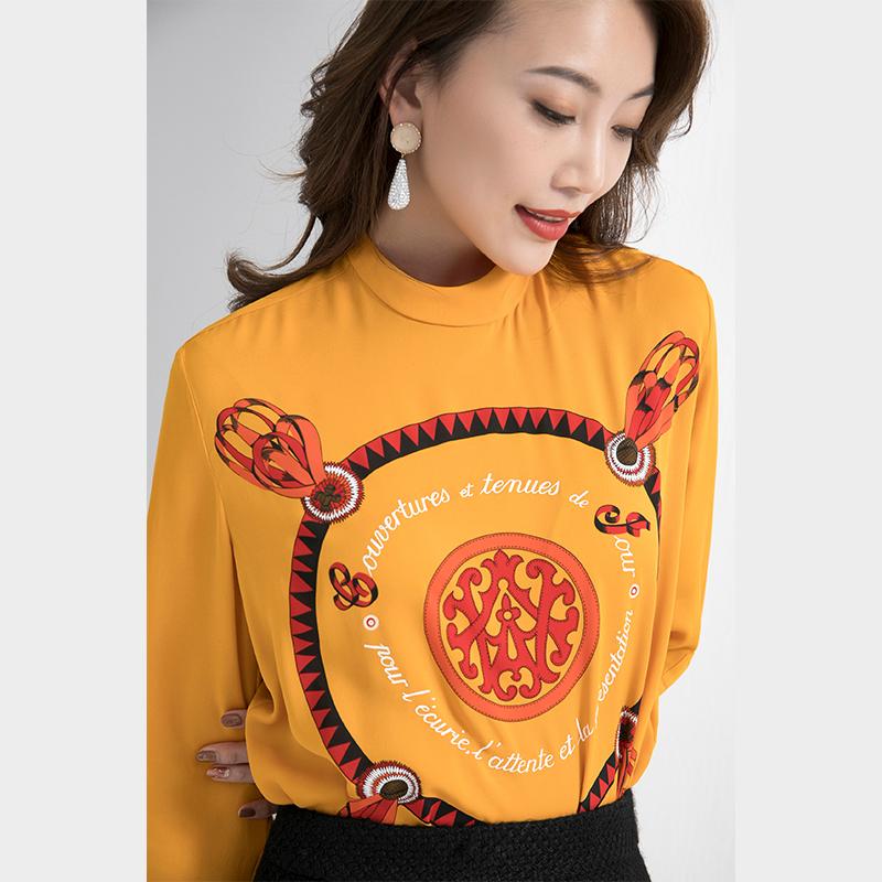 2020春秋杭州重磅真丝衬衫女短款长袖桑蚕丝大牌印花立领绸缎小衫