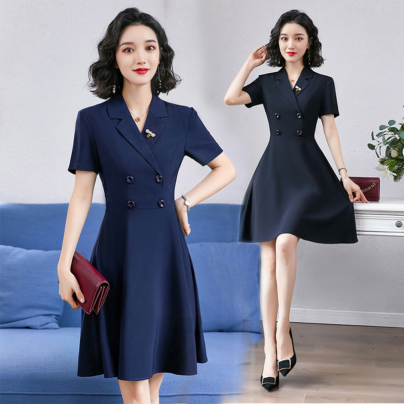 2021 new summer dress womens spring and autumn show thin suit collar short sleeve real estate work clothes