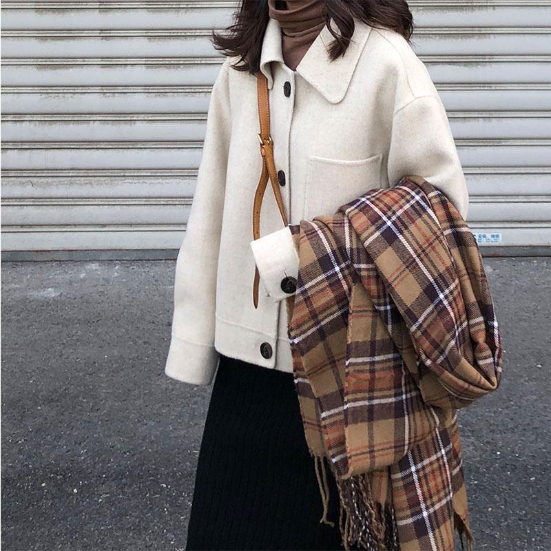 灯笼袖双面羊绒大衣女2019秋冬新款韩版双面呢小个子毛呢外套短款