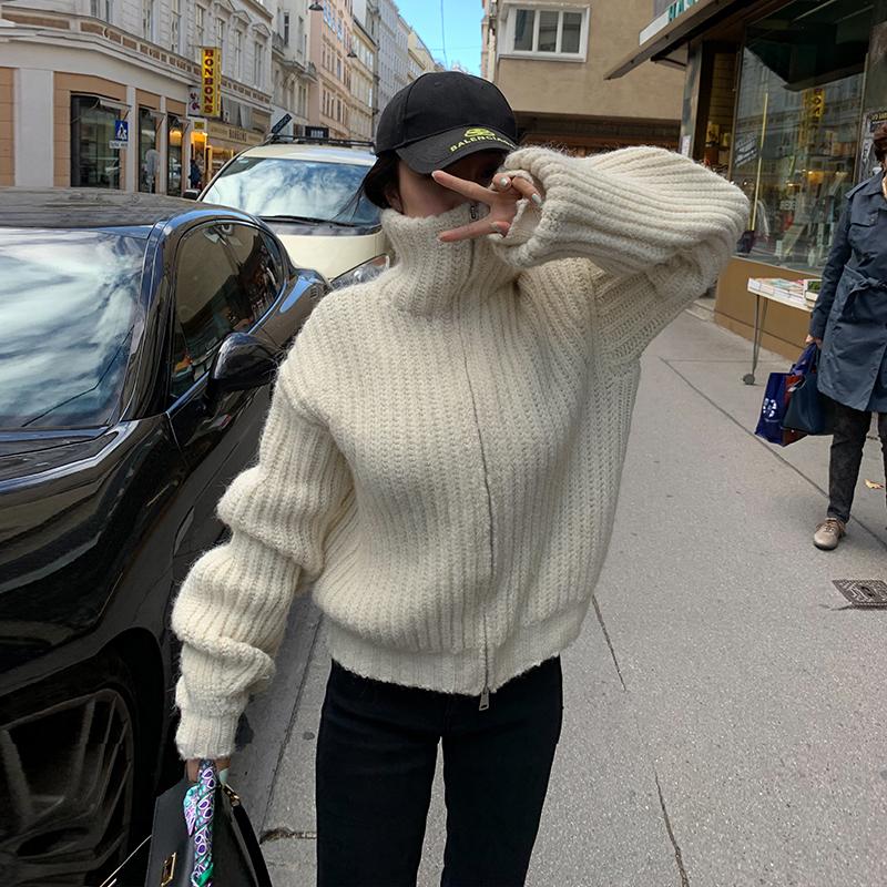 LEIYU毛衣外套女加厚2020冬季新款宽松高领白色羊毛针织开衫欧美