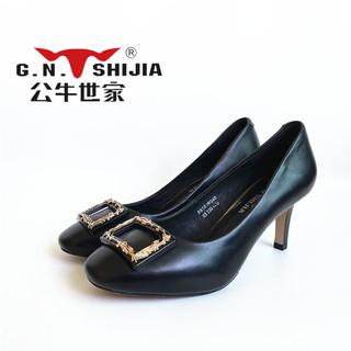 春秋款公牛世家正品女鞋高跟细跟浅口方扣女单鞋通勤OL气质尖头鞋