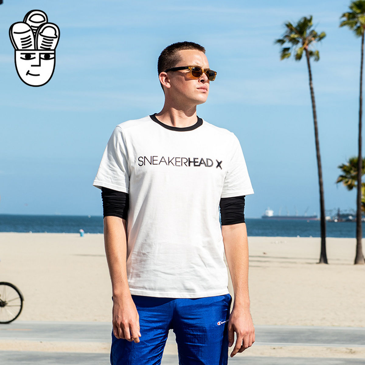Sneakerhead X Mens T-shirt cotton casual fashion personality contrast stitching crew neck letter fake two pieces